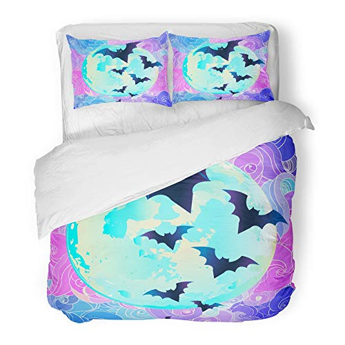 Emvency Decor Duvet Cover Set Twin Size Halloween Creepy Cute Bat Flying Against Full Moon in Neon Pastel Colors Retro 3 Piece Brushed Microfiber Fabric Print Bedding Set Cover -