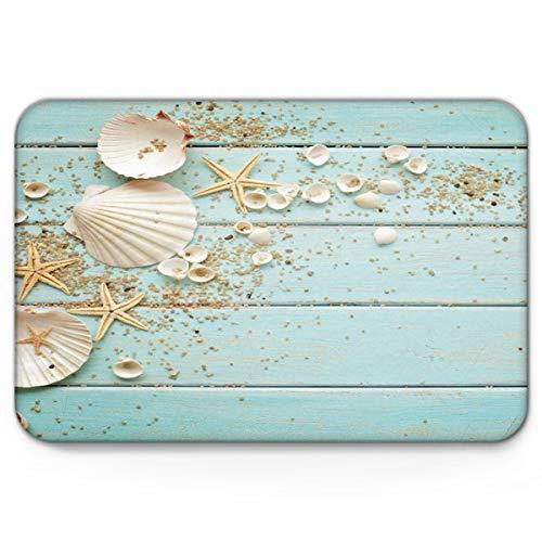 Infinidesign Non Slip Indoor Bathroom Kitchen Decor Rug Mat Welcome Doormat Beach Theme Seashells 18