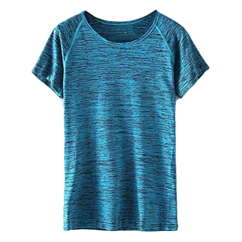 Zhhlinyuan Womens Sports Quick-Dry Short Sleeve T-Shirt Comfortable Elasticity Tops Blue