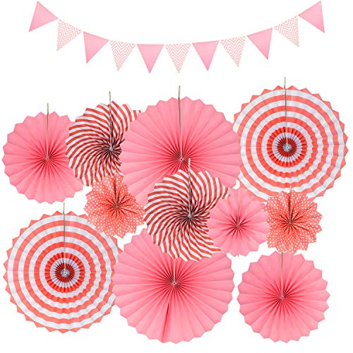 COCOMOON Paper Fans Round Decorations Set ,12 Party Hanging Paper Fans Set/Saint Patrick's Day Decoration/Cinco De Mayo /Carnival/ Kids Party Hanging Decoration Supplies Favors(Pink) -