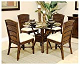 Hospitality Rattan 5 Pc. Dining Set in Antique Brown (Canvas Spa)