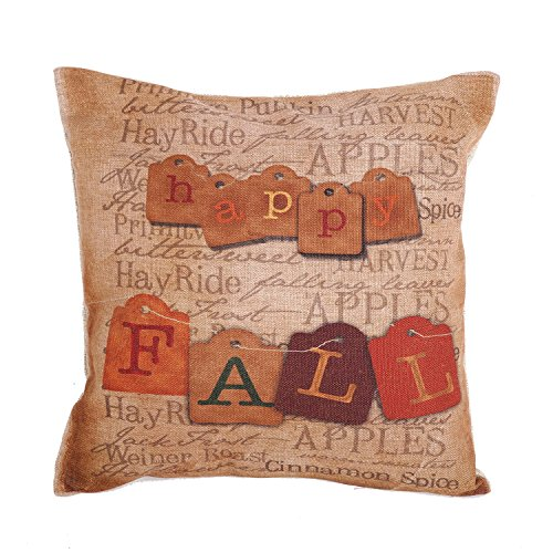 Createforlife New Home Decorative Cotton Linen Square Happy Fall Vintage Letters Printed Pillow Case Cushion Cover 18' (Standard, anlan-F0265)