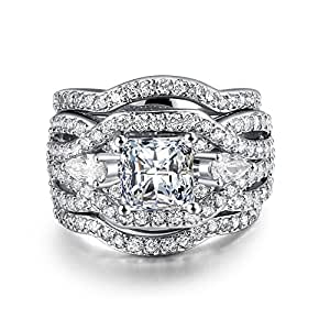 Zealmer Crystal Stacking Wedding Ring Silver Color Cubic Zirconia Bridal Ring Gift For Women Size 6