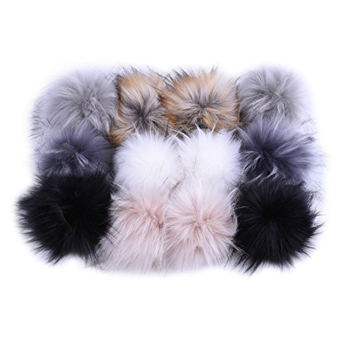 12pcs Faux Raccoon Fur Fluffy Pom Pom Ball for Hat Shoes Scarves Bag Charms Grey