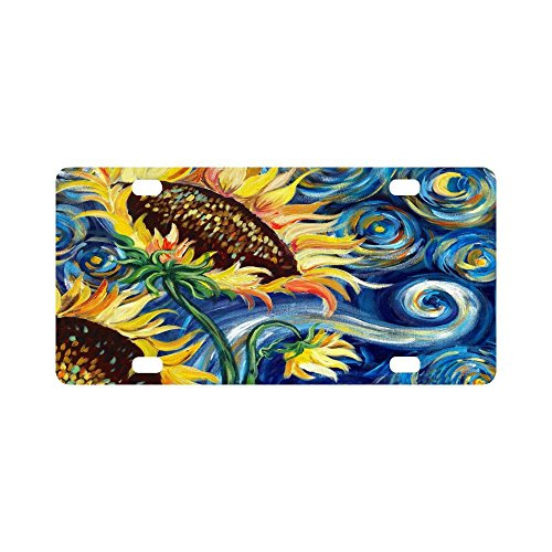 12 X 6 inches Durable License Plate Frame Metal Personalized Car Tag, Fashionable Sunflower by Vincent Van Gogh Oil Paintings (4 Holes)]()