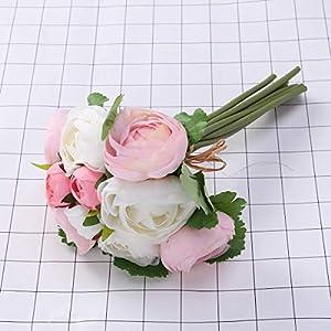 BESTOYARD 10pcs Artificial Flowers Camellia Bridal Wedding Bouquet Bridesmaid Bride Toss Bouquet Home Decoration (Pink & White) 17