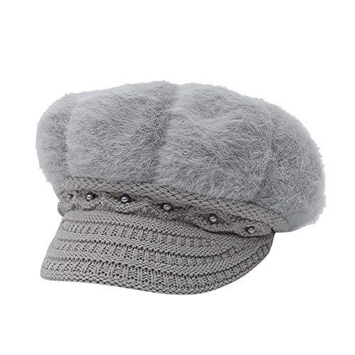 Yezijin Fashion Woman's and Mother's Winter Plus Velvet Warm Hat Beaded Knit Cap (Gray)