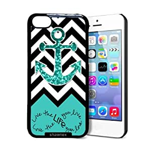 Shawnex Love Your Life Teal Glitter Anchor iPhone 5C Case - Thin Shell Plastic Protective Case iPhone 5C Case