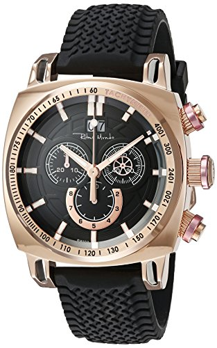 Ritmo Mundo Men's 2221/9 Rose Gold Pink Racer Analog Display Swiss Quartz Black Watch