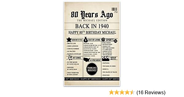 80th Birthday Chalkboard Born in 1939 Stats Sign Photo Prop Poster