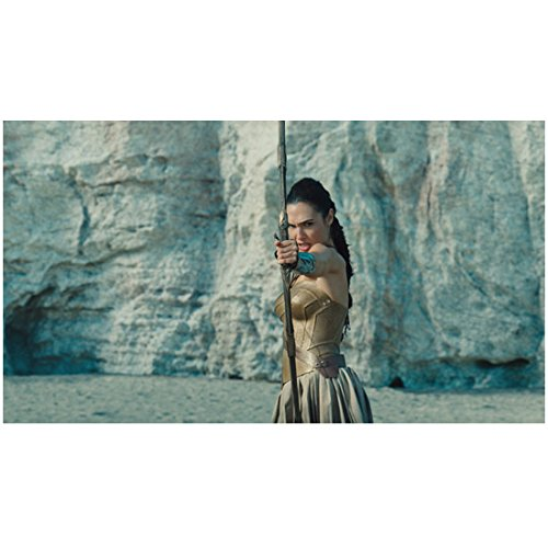 (Wonder Woman (2017) 8 inch x 10 inch PHOTOGRAPH Gal Gadot from Thighs Up Shooting Arrow w/Sheer Rock Wall in Background)