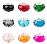 Pandahall 100PCS 14x8mm Mixed Color Glass European Beads with Platinum Color Brass Core, Hole: 5mm