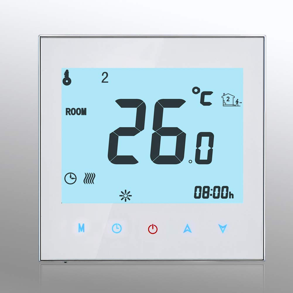 Dnasrivew Water Heating LCD Touch Screen Thermostat Programmable Temperature Controller White