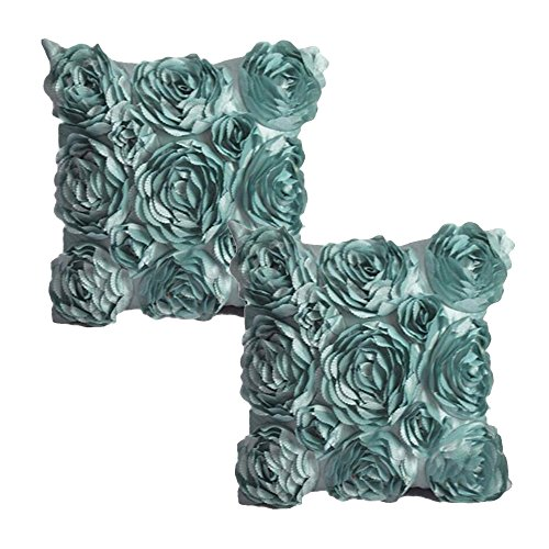 WOMHOPE Set Of 2 PC (Same Color) - 3D Solid Color Satin Rose Flower Square Pillowcase Bed Sofa Cushion Pillow Case Arts Decorative Cover Rose Flowers Throw Pillow Covers Protector (Lake blue(2 Pcs))