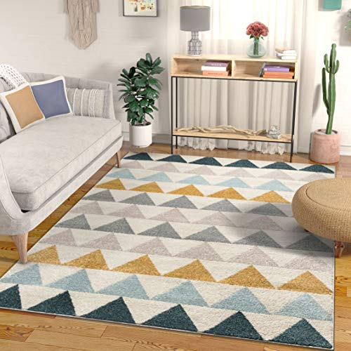 (Well Woven Lincoln Modern Scandinavian Triangles Geometric Gold & Blue Area Rug 8x11 (7'10