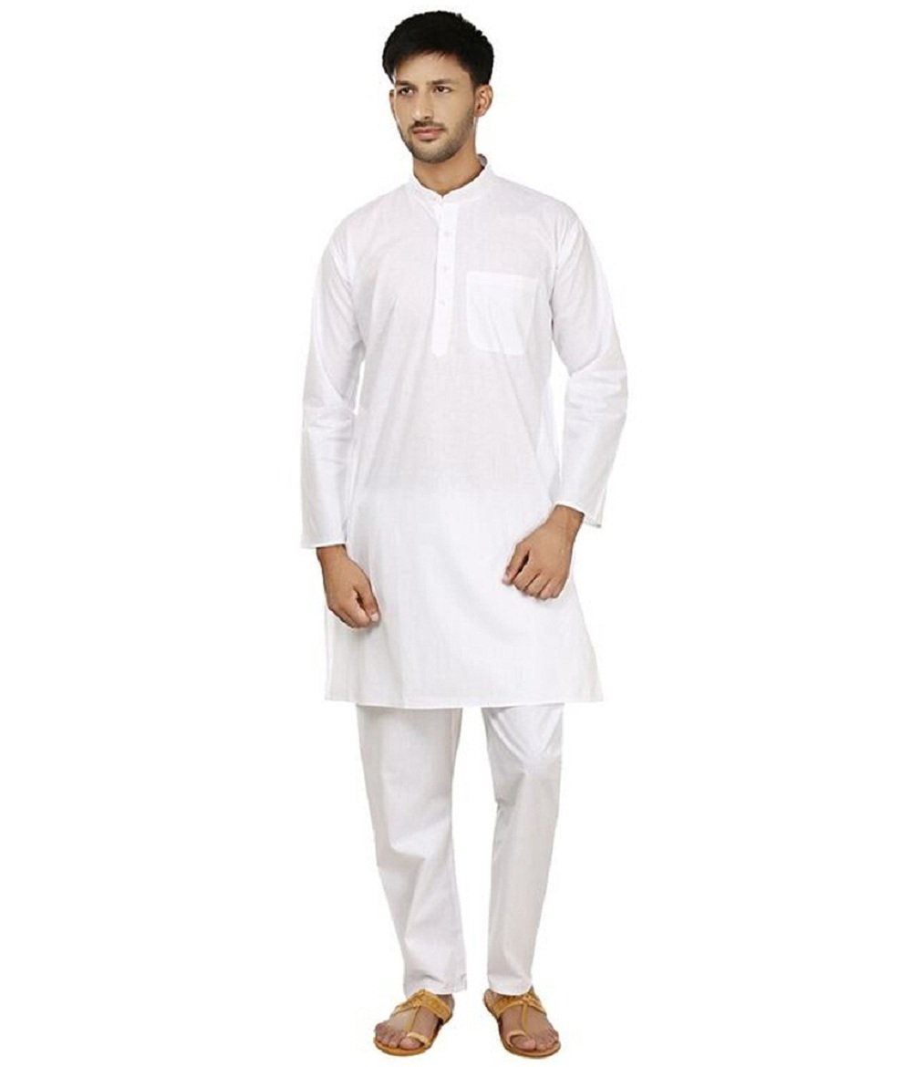 FOCIL White Cotton Kurta & Pyjama Set For Mens