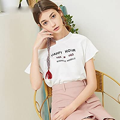 MN Carta de Verano Camiseta de Manga Corta Camisa Blanca Camisa de la Personalidad de la Mujer Simple,Blanco,M: Amazon.es: Deportes y aire libre