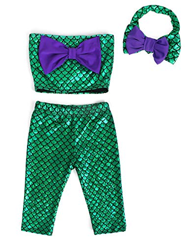 AmzBarley Girls Mermaid Top Sequin Short Pant Set