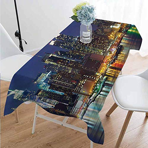 Playyee New York 8229D Printed Long Tablecloth NYC Midtown Skyline in Evening Skyscrapers Amazing Metropolis City States Photo Desktop Protection pad W60 x L126 Inch Royal Blue