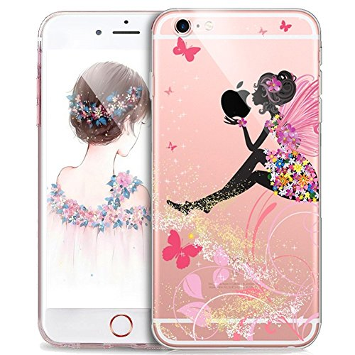 PHEZEN iPhone 8 Case,iPhone 7 Case, iPhone 7 Clear Soft TPU Protective Case Back Cover with Beautiful Cherry Blossom Flower Pattern Ultra Thin Silicone Skin Cover for iPhone 7/iPhone 8 ()