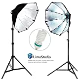 LimoStudio [2 SET] Photography Video Studio Continuous Softbox Lighting Light Kit with Photo CFL 6500 Bulb, AGG698V2