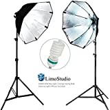 LimoStudio 2 Sets of Photography Video Studio Continuous Soft Box Lighting Light Kit with Photo CFL 6500 Bulb, Photo Studio, AGG698