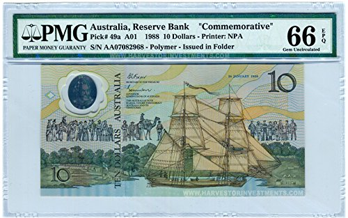 1988 No Mint Mark Australia $5 Banknote Polymer - PMG 66 EPQ - GEM Uncirculated - WORLD'S FIRST POLYMER BANKNOTE - EVER! $5 PMG 66 EPQ ()