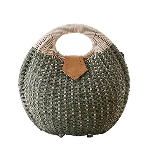 color Top Fashion Mujeres Mimbre Military Vacation Summer Straw Green Tsutou Handbag Bucket Handle White Strawberry gqAwxB4wP