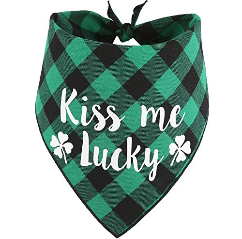 JPB St. Patrick's Day Dog Bandana,Green Plaid Pet St.Patty Day Scarf for Small Medium Large Dogs