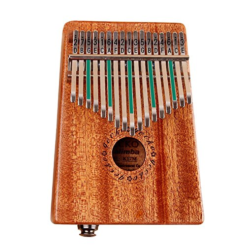 Aolvo K17KEQ Kalimba Thumb Piano 17 Keys with Instruction and Tune Hammer, Portable African Finger Percussion Keyboard Electric Kalimba Thumb Nature Sound Piano Toy Gift - Acacia by Aolvo