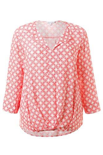 GINA_LAURA Damen | Tunika-Bluse | drapiertes Vorderteil | Größe S-XXXL | locker geschnitten, längeres Rückenteil, 3/4-Arm | Grafik-Muster | hellkoralle S 709942 66-S