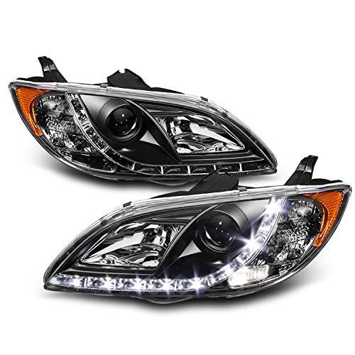 For Mazda 3 4 Doors Sedan Black Bezel DRL Daylight LED Strip Headlights Replacement Pair Left + Right (Mazda 3 Halo Headlights)