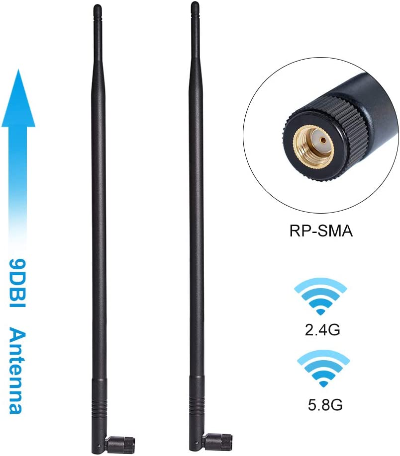9dBi 2.4GHz 5.8GHz Dual Band WiFi Antenna 2-Pack, Omni-Directional Wireless Antenna with RP-SMA Connector for Wireless Network Router, PCI/PCIe Card, USB Adapter, IP Camera