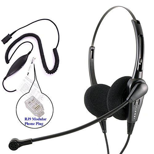 RJ9 Headset - InnoTalk Business Grade Economic Binaural Headset + Avaya Cisco Nortel Phone Virtual Compatibility RJ9 Cord Compatible with Plantronics QD