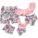Family Matching Swimwear Two Piece Vintage Pineapple Printed Monokini Swimsuits (Pink, Women:XL)