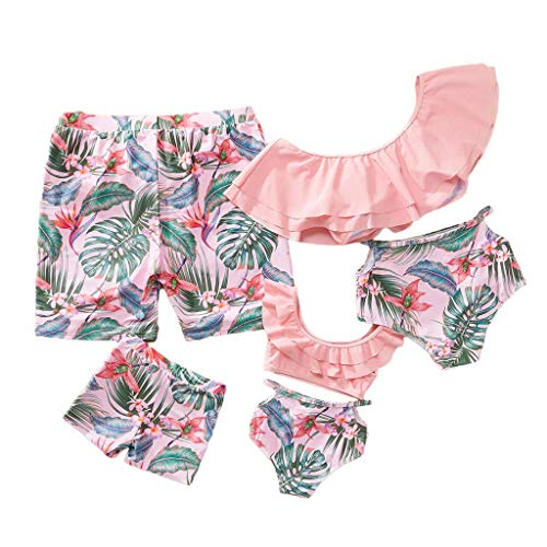 Family Matching Swimwear Two Piece Vintage Pineapple Printed Monokini Swimsuits (Pink, Girls:4-5 Years) ()