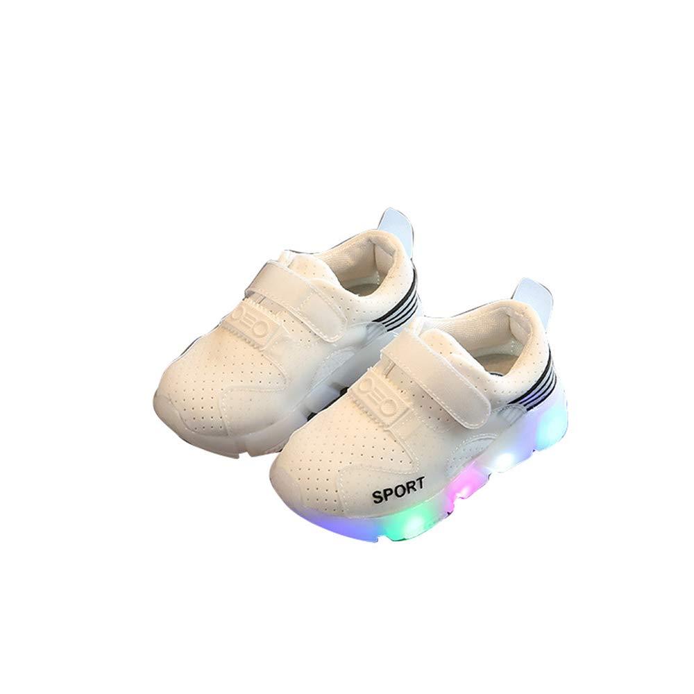 edv0d2v266 Children Kid Girls Boys Led Light Star Luminous Sport Mesh Student Casaul Shoes(White 31/13MUSLittleKid)