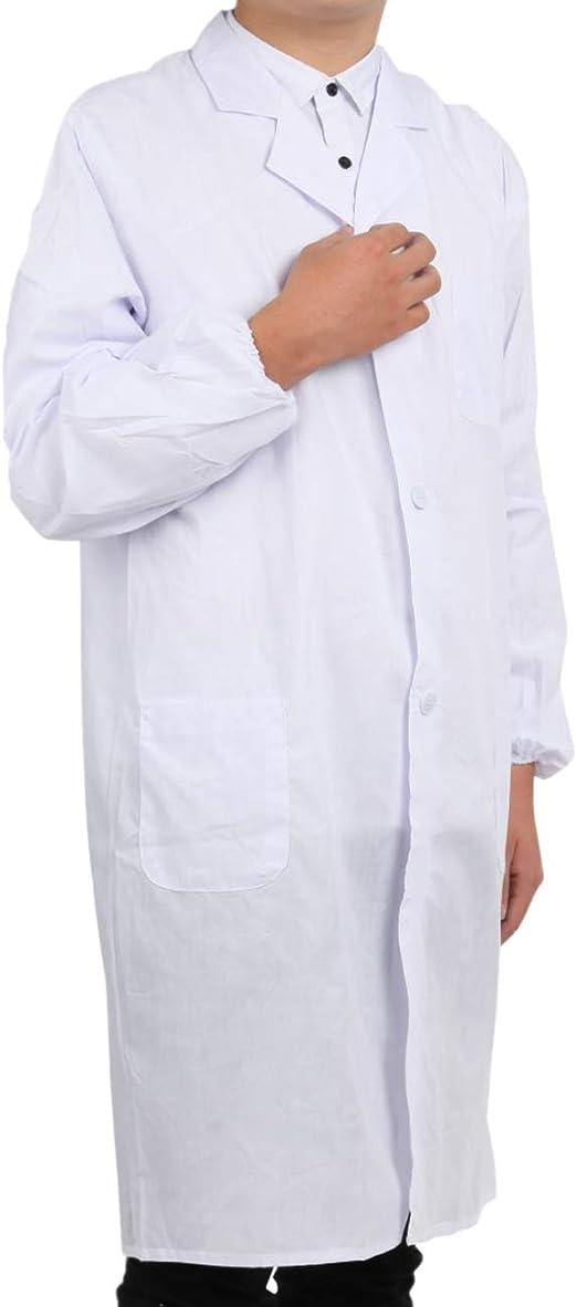 Pinkpum Camice da Laboratorio Medici Abbigliamento Bianco Camice Uniformi da Lavoro Bianco Uomo Maniche Lunghe Pulsante Manette