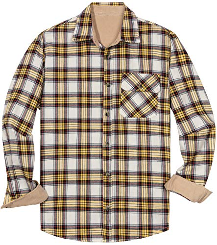 ZIOLOMA Men's Western Plaid Flannel Shirt Causal Long Sleeve Button Up Flannel Shirt White (Plaid Flannel Western Shirt)