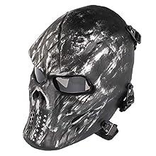 Senmortar Airsoft Mask Full Face Skull Silver Grey Paintball Masks Tactical Grey PC Lens Eyes Protection for Halloween Cosplay Party BBS Gun Shooting Game