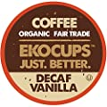 EKOCUPS Artisan Organic Decaf Vanilla, medium Roast Coffee In Recyclable Single Serve Cups for Keurig K-Cup Brewers, 20 Count