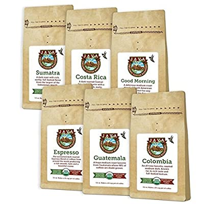 Java Planet - Coffee Beans, Organic Coffee Sample Packs, Whole Bean, Arabica Gourmet Specialty Grade A Coffee packaged in six 3.2 oz bags