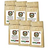 Java Planet - Coffee Beans, Organic Coffee Sampler Pack, Whole Bean Variety Pack, Arabica Gourmet Specialty Coffee, 1.32 lbs of coffee packaged in six 3.2 oz bags