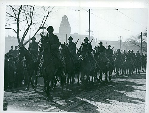 Vintage photo of Field parade - an attractive silhouette image of the Mounted Life regiment squadron from - Parade Silhouette