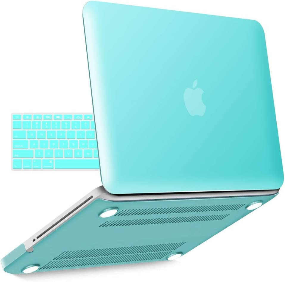 IBENZER MacBook Pro 13 Inch case A1278 Release 2012-2008, Plastic Hard Shell Case with Keyboard Cover for Apple Old Version Mac Pro 13 with CD-ROM, Turquoise, P13TBL +1A