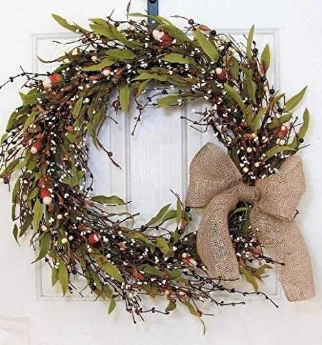 Mikash Large Fall Pip Berry Wreath - Rustic Door - Autumn Wreath | Model WRTH - 672