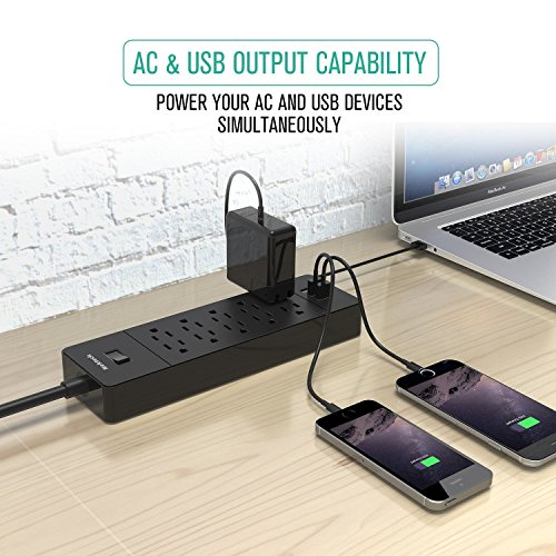 Nekteck Pack Power Strip/Surge Plug with 10 AC Outlets, 15W 3-Port Charger Samsung Tablets, HTC M9 and