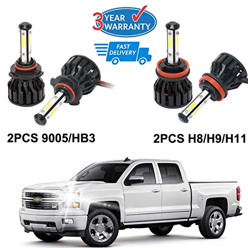- H11 + 9005 LED Combo Headlight Bulb Kit High Low Beam Replacement for 2007-2015 Chevy Silverado 1500-4Pcs Set 3 Year Warranty