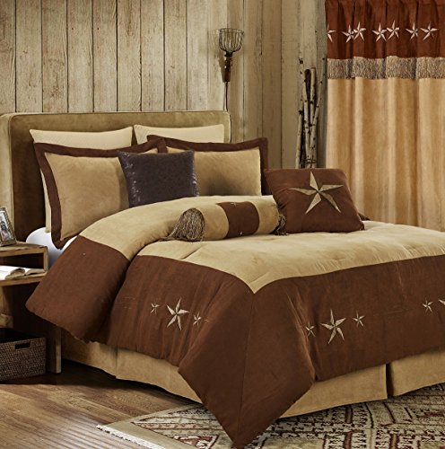 Chezmoi Collection 7 Pieces Western Star Embroidery Design Microsuede Bedding Oversized Comforter Set (King 108
