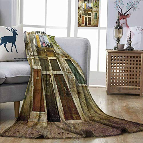 Homrkey Warm Blanket Venice Old Weathered Building Facade with Hanged Clothes Murano Island Grunge Architecture Queen Size Blanket W54 xL72 Multicolor